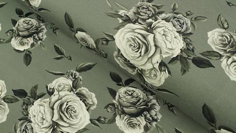 Baumwolljersey grau: Megan Blue Tricot Roses - 150 cm im Makerist Materialshop