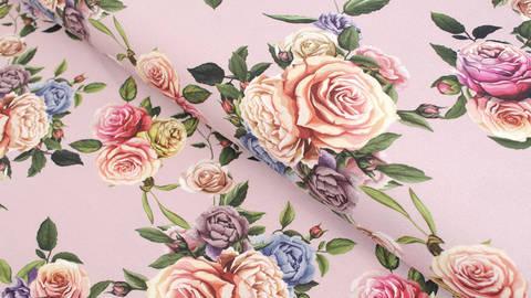 Baumwolljersey altrosa: Megan Blue Tricot Roses - 150 cm im Makerist Materialshop