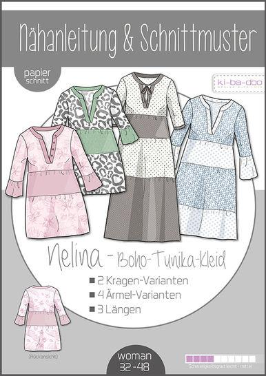 Ki-ba-doo Schnittmuster und Nähanleitung gedruckt: Nelina Boho-Kleid Damen im Makerist Materialshop - Bild 1