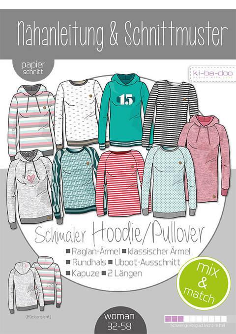 Ki-ba-doo Schnittmuster und Nähanleitung gedruckt: Schmaler Hoodie/Pullover Damen im Makerist Materialshop