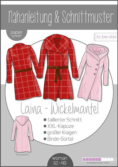 Ki-ba-doo Schnittmuster und Nähanleitung gedruckt: LAINA Wickelmantel Damen im Makerist Materialshop - Bild 1