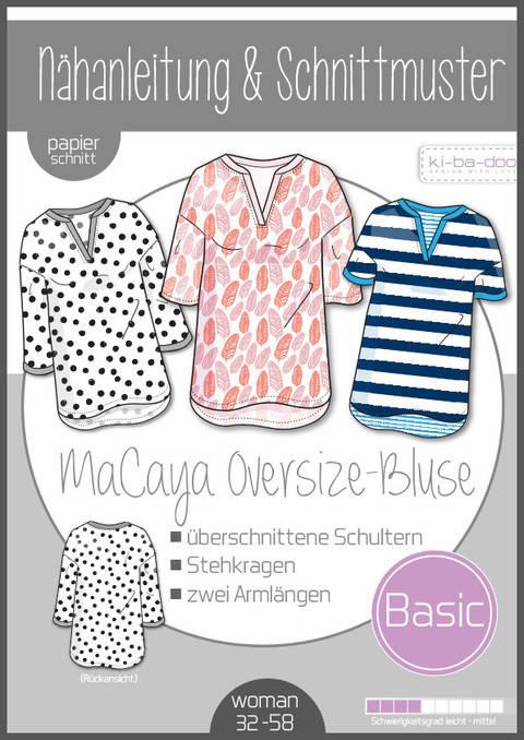 Ki-ba-doo Schnittmuster und Nähanleitung gedruckt: MaCaya Oversize Bluse Damen im Makerist Materialshop