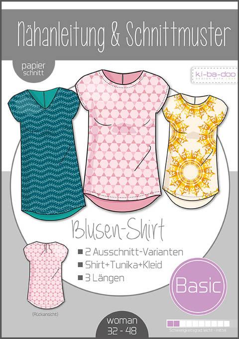 Ki-ba-doo Schnittmuster und Nähanleitung gedruckt: Basic Blusen-Shirt Damen im Makerist Materialshop