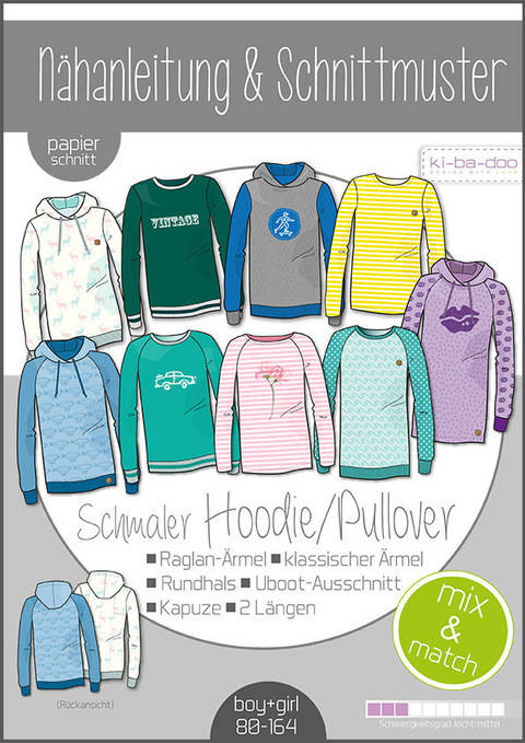 Ki-ba-doo Schnittmuster und Nähanleitung gedruckt: Sweater/Hoodie Kinder im Makerist Materialshop
