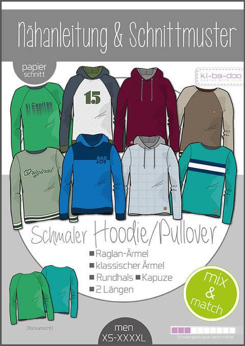 Ki-ba-doo Schnittmuster und Nähanleitung gedruckt: Schmaler Hoodie/Pullover Herren im Makerist Materialshop