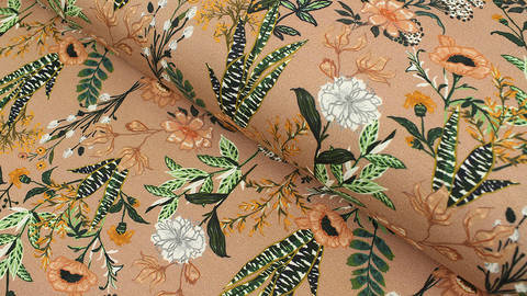Baumwolljersey hellbraun: Megan Blue Tricot Sanseveria - 150 cm im Makerist Materialshop