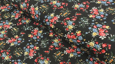 Viskosestoff schwarz: Feldblumen - 150 cm im Makerist Materialshop