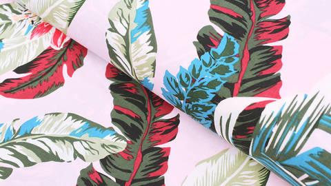 Viskosestoff rosa: Tropische Pflanzen - 150 cm im Makerist Materialshop