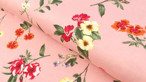 Jersey de viscose rose saumon : motif floral - 150 cm dans la mercerie Makerist