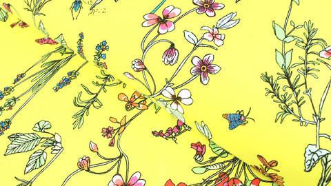 Bademodenstoff neongelb: Wildblumen - 155 cm im Makerist Materialshop