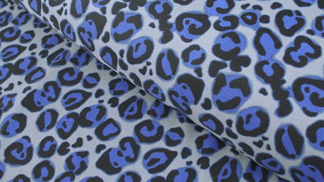 Bademodenstoff grau-blau: Blauer Leopard - 155 cm im Makerist Materialshop - Bild 1