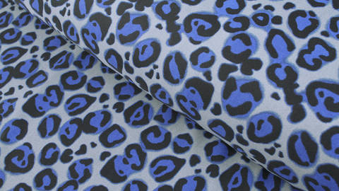 Bademodenstoff grau-blau: Blauer Leopard - 155 cm im Makerist Materialshop