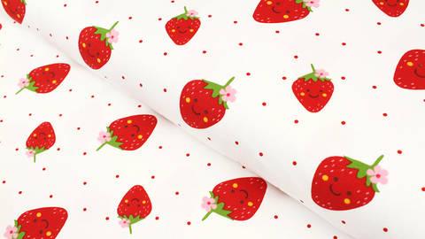 Baumwolljersey offwhite: Erdbeeren - 150 cm im Makerist Materialshop