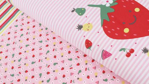 Baumwolljersey Rapport rosa weiß: Bunte Früchte - 150 cm im Makerist Materialshop