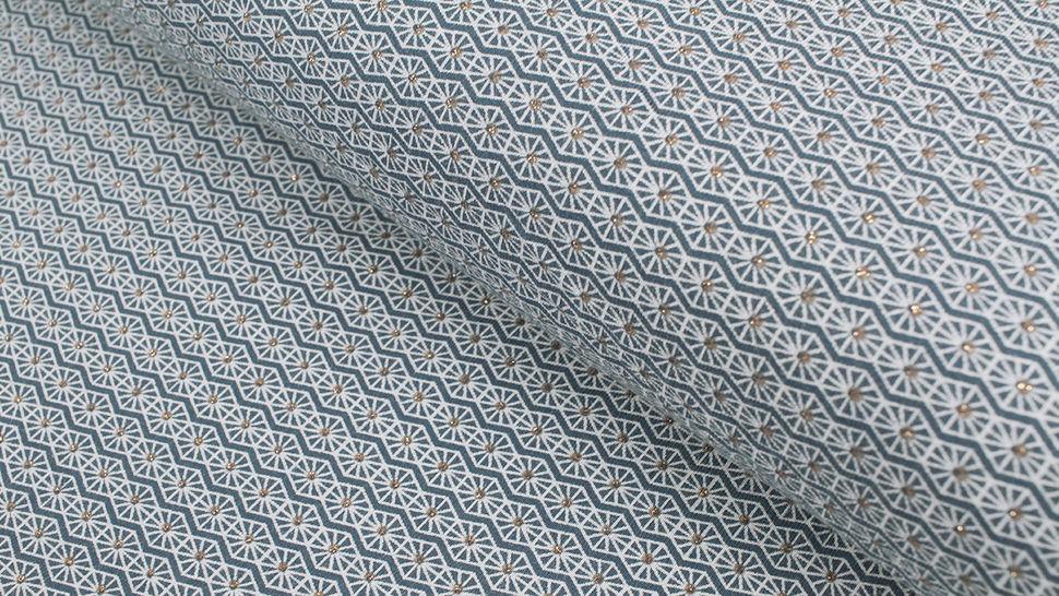 Baumwolljersey dunkelblau: Gold Ornamente - 150 cm im Makerist Materialshop - Bild 1