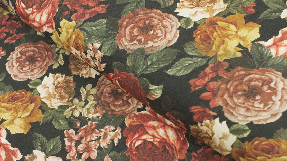 Viskosestoff schwarz: Rosen - 140 cm im Makerist Materialshop - Bild 1