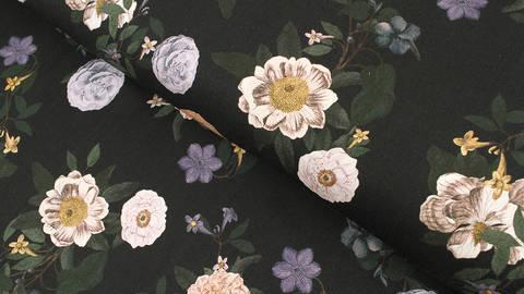 Viskosestoff dunkelblau: Blumenvielfalt - 140 cm im Makerist Materialshop