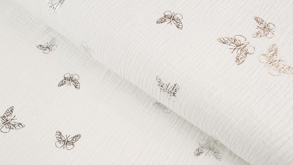 Musselin Baumwollstoff weiß silber: Schmetterlinge - 135 cm im Makerist Materialshop - Bild 1