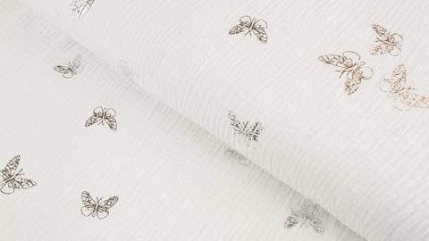Musselin Baumwollstoff weiß silber: Schmetterlinge - 135 cm im Makerist Materialshop