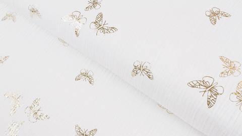 Musselin Baumwollstoff weiß gold: Schmetterlinge - 135 cm im Makerist Materialshop