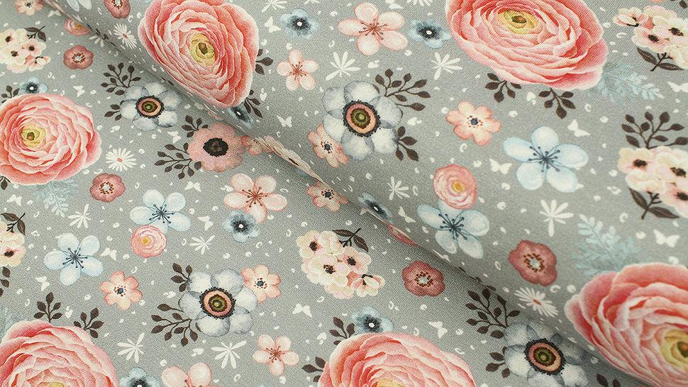 Baumwolljersey grau: Megan Blue Tricot Sweet Flower Garden - 150 cm im Makerist Materialshop - Bild 1