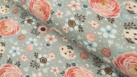 Baumwolljersey grau: Megan Blue Tricot Sweet Flower Garden - 150 cm im Makerist Materialshop