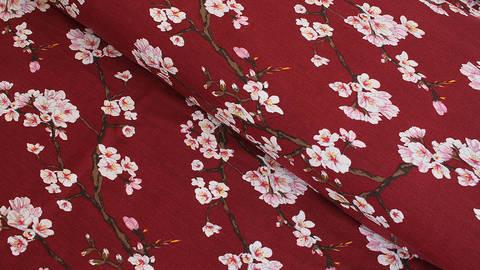 Modalstoff bordeaux: Kirschblüten - 150 cm im Makerist Materialshop