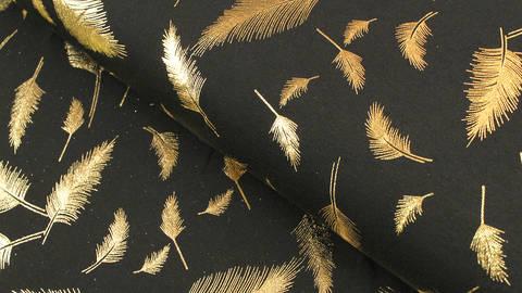Baumwolljersey schwarz-gold: Metallic Federn - 150 cm im Makerist Materialshop