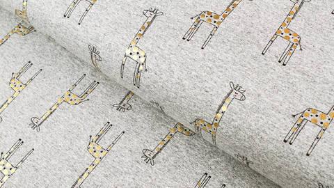Baumwoll-Mischgewebestoff grau-meliert-gold: Goldene Giraffe - 150 cm im Makerist Materialshop