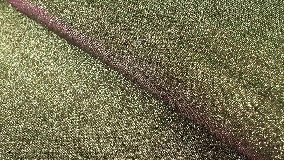 B-Ware Lurex-Jersey gold-grün-lila: Glamour und Glitzer - 140 cm im Makerist Materialshop - Bild 1