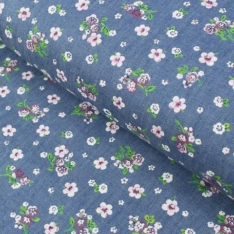 Jeansstoff blau: Flower Power - 145 cm im Makerist Materialshop