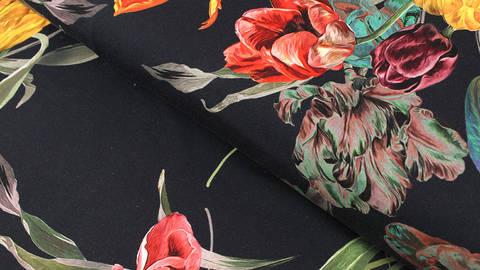 Baumwolljersey navy: Tulpenstrauß - 150 cm im Makerist Materialshop