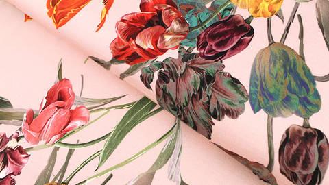 Baumwolljersey altrosa: Tulpenstrauß - 150 cm im Makerist Materialshop