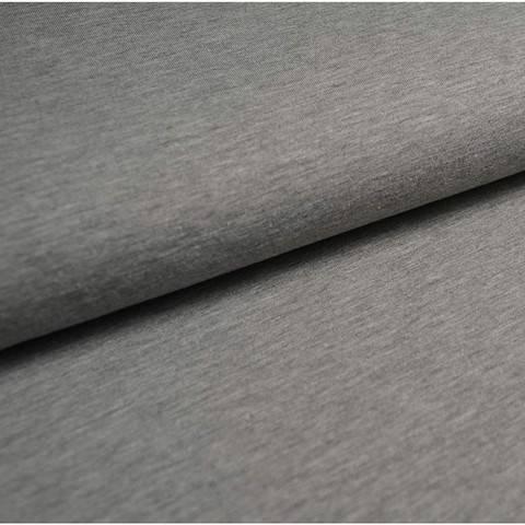 Bündchenstoff Uni: hellgrau meliert - 35 cm im Makerist Materialshop