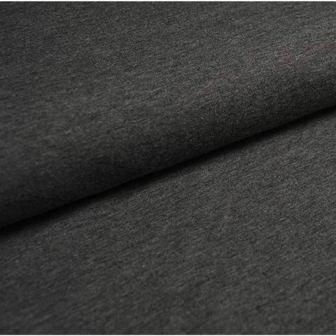 Bündchenstoff Uni: dunkelgrau meliert - 35 cm im Makerist Materialshop