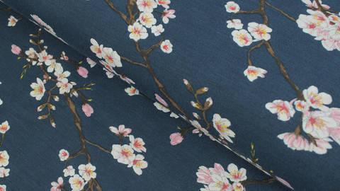 Modalstoff navy: Kirschblüten - 150 cm im Makerist Materialshop
