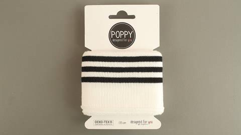 Bündchen schwarz-wollweiß Streifen: elastische Cuffs im Makerist Materialshop