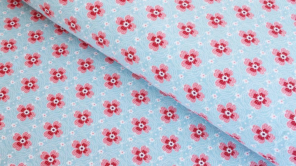 Baumwolljersey hellblau: Kleine Blüten - 150 cm im Makerist Materialshop - Bild 1