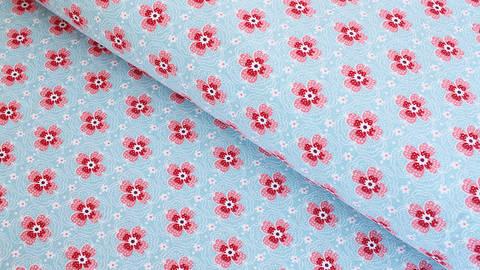 Baumwolljersey hellblau: Kleine Blüten - 150 cm im Makerist Materialshop