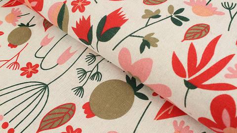 Canvas natur: Blätter und Blumen - 150 cm im Makerist Materialshop