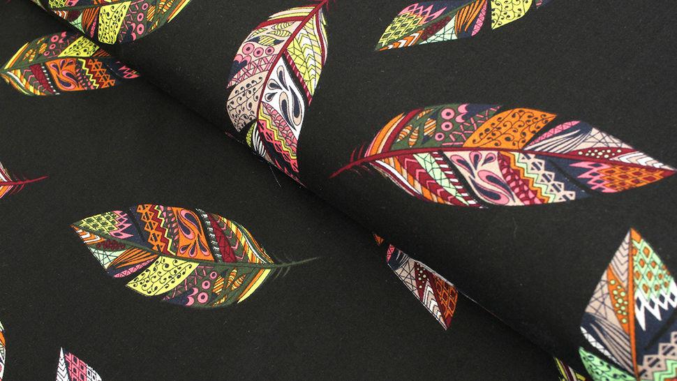 Viskosestoff schwarz: Federkunst - 150 cm im Makerist Materialshop - Bild 1