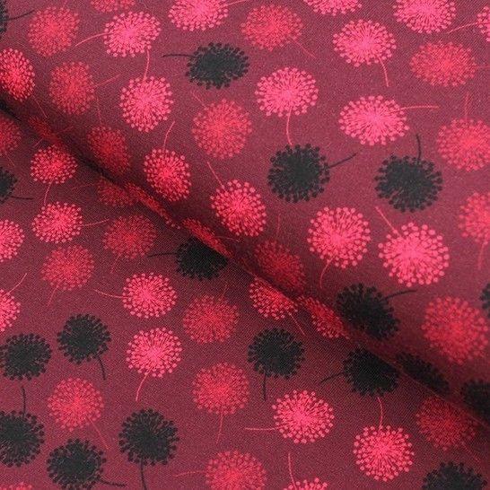 Baumwolljersey bordeaux: Avalana Pusteblumen - 162 cm im Makerist Materialshop - Bild 1