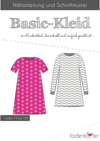 Fadenkäfer Schnittmuster und Nähanleitung gedruckt: Basic-Kleid Kinder im Makerist Materialshop - Bild 1