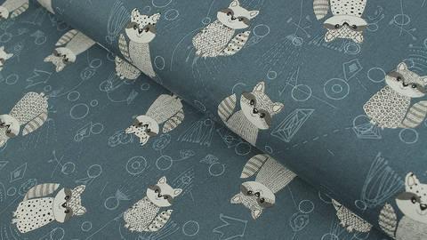 Baumwollstoff petrol: Rocky Raccoon - 112 cm im Makerist Materialshop