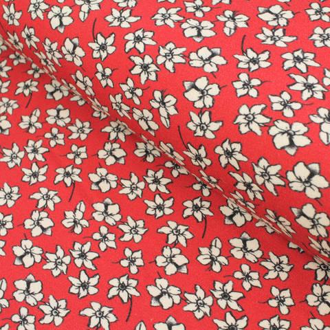 Viskosejersey rot: Avalana weiße Blümchen - 155 cm im Makerist Materialshop