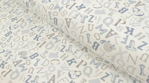 Baumwolljersey weiß: Avalana Buchstaben - 162 cm im Makerist Materialshop