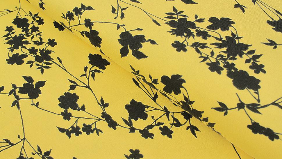 Baumwolljersey gelb: Avalana Blumensilhouette - 162 cm im Makerist Materialshop - Bild 1