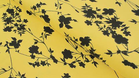 Baumwolljersey gelb: Avalana Blumensilhouette - 162 cm im Makerist Materialshop