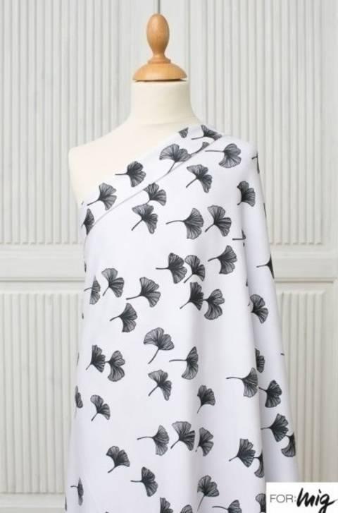 Lillestoff Modalsweat schwarz-weiß: Ginkgoverlauf - 160 cm im Makerist Materialshop
