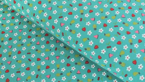 Baumwolljersey dunkelmint: Blumen und Früchte - 150 cm im Makerist Materialshop